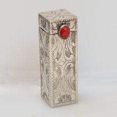Antique Italian 800 Silver Mirrored Lipstick Case