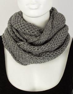 Grey knitted scarf - Knitted scarf - Crochet scarf - Infinity scarf - Man scarf - Women scarf - Winter scarf - Chunky scarf - Pattern scarf
