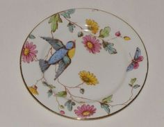 Antique-HAND-PAINTED-English-Bone-China-Wa-Adderley-SONG-BIRD-BUTTERFLY-Plate
