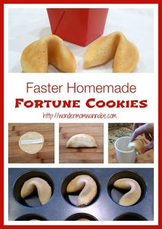 Faster Homemade Fortune Cookies - Make homemade cookies in half the time with this variation on the tradition recipe from Wondermom Wannabe. Delicious Desserts, Dessert Recipes, Dessert Aux Fruits, Good Food, Yummy Food, Fun Food, Homemade Cookies, Homemade Recipe, Cobbler