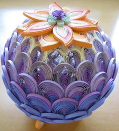 This is a great example of dimensional quilling in which stacking/over lapping of quill work is used to create the illusion of dimension. This is from sphotos-e.ak.fbcdn.net