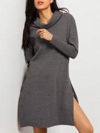 Grey Cowl Neck Side Split Sweater