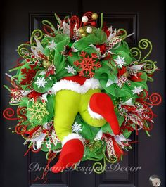 The Grinch wreath by DreamDesignAndDecor on Etsy