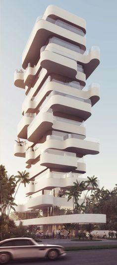 Nach eckig kommt kurvig - Orange Architects planen Wohnturm auf Zypern