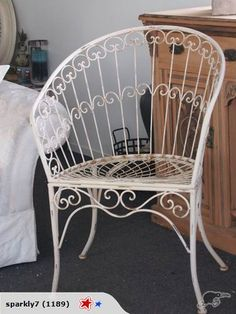 *French-look Cream Wrought Iron Chair* for sale on Trade Me, New Zealand's auction and classifieds website Wrought Iron Chairs, Iron Table, Table Seating, Chairs For Sale, Rust Color, Vintage Shabby Chic, Green Velvet, Accent Chairs, French