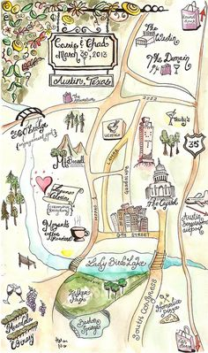 The Wedding Map I made for @Carrie Mcknelly Nie, of Austin, TX. For your own custom map, make sure to contact Helen at hnie@ash.nl