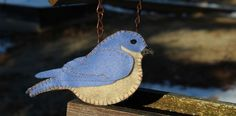 Arrival of the Bluebird – Felt - with pattern, cute ornament