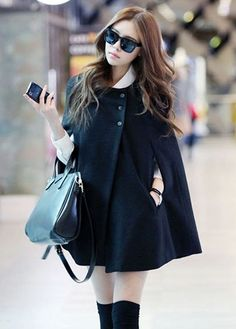Japanese Style Loose Pattern Button Closed Black Coats | martofchina.com