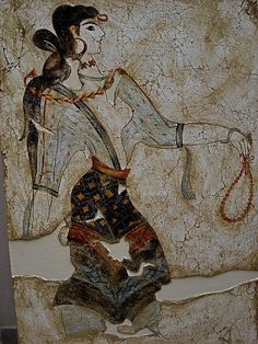 Fresco of a Minoan beauty.Cycladic Settlement of Akrotiri.Thera island.1600 BC.Greece