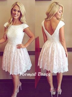 A line of White Round Neck Lace Short Prom Dresses, Homecoming Dresses,Formal Dresses