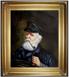 Framed Museum Q. Hand Painted Oil Painting Repro Old Sea Captain Hold Fast Tattoo, Sailor Tattoos, Sea Captain, Sky Sea, Florida Home, Hanging Wall Art, Traditional Tattoo, Seaside, Nautical