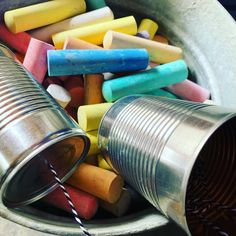 Tin can phone sidewalk chalk junk craft ideas outside play kid kids creative colorful Nespresso, Coffee Maker, Kitchen Appliances, Dreams, Coffee Maker Machine, Diy Kitchen Appliances, Coffee Percolator, Home Appliances, Coffeemaker
