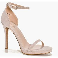 Boohoo Ella Platform Glitter Sole Sandal (€46) ❤ liked on Polyvore featuring shoes, sandals, heels, nude, nude heeled sandals, chunky heel shoes, platform mules, nude block heel sandals and chunky platform sandals