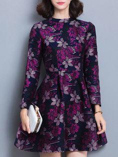 Purple Vintage Floral Printed A-line Mini Dress