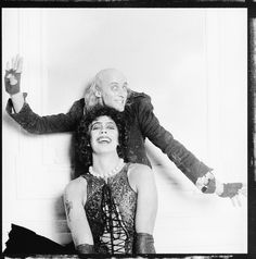 Richard O'brien and Tim Curry goofing around on set of The Rocky Horror Picture Show, 1975 Columbia Rocky Horror, Rocky Horror Show, The Rocky Horror Picture Show, Rocky Poster, Tv Movie, The Best Films, Time Warp, Tim Curry, Music Tv