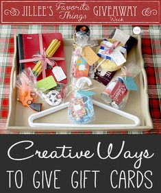 Elevate the experience of giving and receiving the practical gift card this year with these creative ideas! PLUS, Jillee's Favorite Things Giveaway Week continues with a gift card giveaway BLOWOUT! Practical Gifts, Simple Gifts, Easy Gifts, Creative Gifts, Homemade Gifts, Cute Gifts, Unique Gifts, Creative Ideas, Teacher Appreciation Gifts