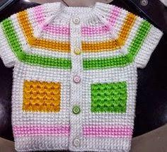 bebek yelekleri de çok şirin değil mi Sweaters, Baby, Ninja Star, Tulum, Fashion, Tunisian Crochet, Tricot, Sweater Vests, Tejidos