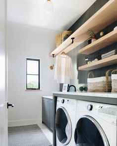 Laundry room space at our modern English farmhouse project. English Farmhouse, Farmhouse Style, Laundry Room Inspiration, Laundry Room Remodel, Farmhouse Laundry Room, Modern Laundry Rooms, Laundry Room Design, Laundry Room Shelving, Laundry Bathroom Combo