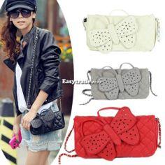 New Fashion Women Butterfly Bow-knot Clutch Chain Purse HandBag Shoulder Bag ESY