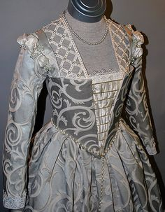 Venetian Renaissance -- 16th Century Venetian Noble's gown made of damask & trimmed w/ lace, silk & pearls  --  Starlight Masquerade Glamorous Handmade Costumes