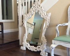 ORNATE WHITE MIRROR  Shabby Chic Mirror Cottage Chic French Country White Framed Ornate Mirror Wall Mirror Furniture Wall Art$350