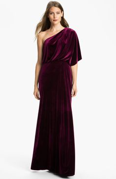 Adrianna Papell Draped One Shoulder Velvet Blouson Gown @Lyst