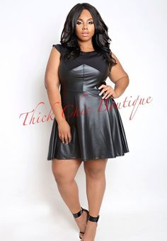 Faux Leather Swing Dress, $36.99 by Thick Chic Boutique