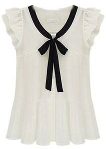 White Ruffle Sleeve Bow Tie Front Chiffon Blouse US$26.59