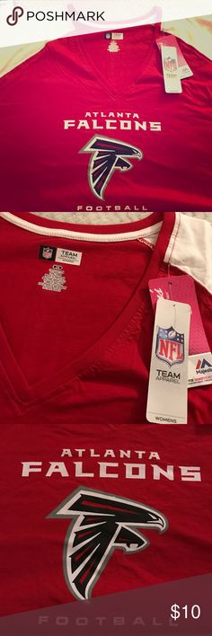 NWT NFL Atlanta Falcons Women's 2x t shirt. Brand new with tags Women's official NFL apparel 2X Atlanta Falcons t shirt. I think it runs a little big. Really cute sleeves. NFL Tops Tees - Short Sleeve