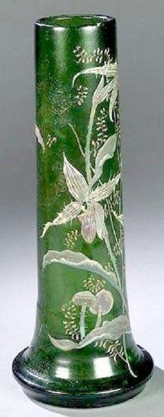 Galle Glass; Enameled, Vase, Fern/Flower/Mushroom, Green & White, 18 inch.