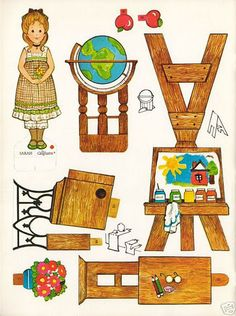 The Ginghams at Home and School Paper Doll Playbook - MaryAnn - Picasa Web Albums Paper Doll House, Paper Houses, Paper Furniture, Doll Furniture, Dollhouse Furniture, Paper Toys, Paper Crafts, Paper Dolls Printable, Diy Papier