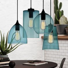 Contemporary 1 Light Pendant Lamp with Blue Glass Shade Black Cylinder Shape Ceiling Pendant Light Drop Lights, Hanging Ceiling Lights, Hanging Light Fixtures, Ceiling Light Fixtures, Glass Pendant Light, Ceiling Pendant, Pendant Lamp, Pendant Lighting, Chandelier