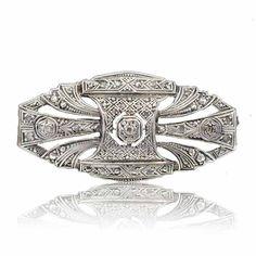 Sterling Silver Diamond Art Deco Brooch