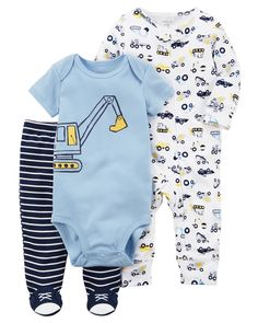 Baby Boy 3-Piece Construction Sleep & Play Set | Carters.com