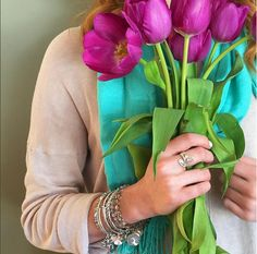 Tulips and charmed arms. These are a few of our favorite things | ALEX AND ANI Charm Bangles | Unicorn Charm Bangle