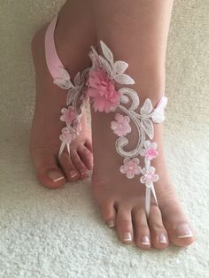 Free Ship White pink floral lace barefoot #sandals Beach wedding barefoot #sandals, Flexible wrist lace #sandals, Sandals