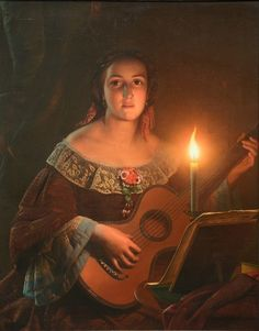 View A guitar playing girl in clair obscur Attributed to Petrus Van Schendel; Access more artwork lots and estimated & realized auction prices on MutualArt. Romanticism Paintings, Music Painting, Guitar Painting, Foto Art, Dutch Artists, Chiaroscuro, Light Art, Beautiful Paintings, Beautiful Drawings