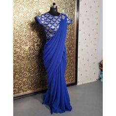 Blue georgette plain partywear saree Royal Blue Saree, Royal Blue Blouse, Party Wear Indian Dresses, Indian Outfits, Bollywood Lehenga, Plain Saree, Georgette Sarees, Saree Blouse, Dress Patterns