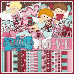 Love Digital Scrapbook Kit  Digital by JssScrapBoutique on Etsy, $4.99