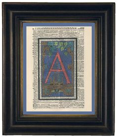 Alphabet Letter A Pink Colorful Dictionary Art by HangWithUsToday, $9.00