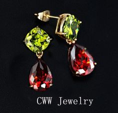 Best Women Jewelry Gift Gold Plated My Mona Lisa Olive Green and Red Color CZ Drop Earrings CZ086