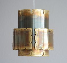 Holm Sorensen brutalist ceiling pendant lamp in oxidized brass, designed by Sven Aage Holm Sørensen and produced by Holm Sorensen & Co. A/S in