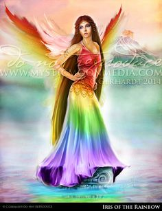 Iris of the Rainbow ...Matted Print... Fantasy by mysticmoonmedia