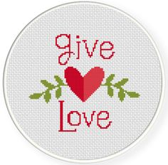 FREE Give Love Cross Stitch Pattern