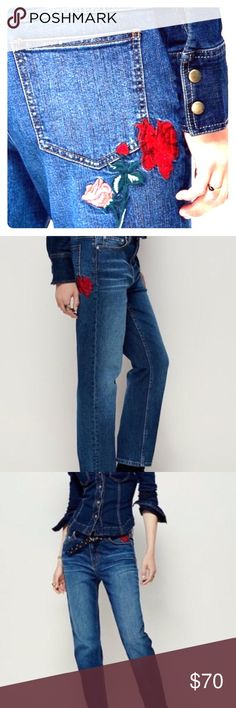 Free people rose 🌹 embroidered 👖 Great condition, not new but basically like new, no wear or tares! No loose threads on the roses and no rips on the bottom of the leg part. Inseam approx 26 inches in length and outseam approx 36 inches in length! Waist a 28 Free People Jeans Straight Leg