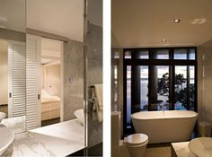 Waikopua House by Daniel Marshall - free standing bath by full windows