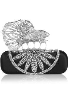 Alexander McQueen Embellished satin box clutch  | NET-A-PORTER
