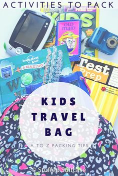 Heading out for a family vacation and looking for ideas to keep the kids busy? Here are our favorite activities to pack in the kids travel bags for road trips and plane rides. Vacation Packing, Travel Packing, Travel Bags, Vacation Ideas, Travel Ideas, Packing Lists, Travel Backpack, Airplane Travel, Car Travel