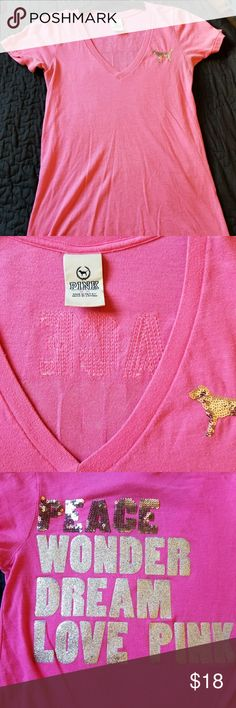 "VS Pink Tee Victoria's Secret Pink short sleeve tee. Sequin dog logo on front and ""Pink Wonder Dream Love Pink "" on back in sequin and glitter. Gently used. PINK Tops Tees - Short Sleeve"