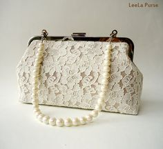 Romantic Bridal Bridesmaid Wedding Off White Lace covered on shimmering Satin Purse with beads Handle Strap